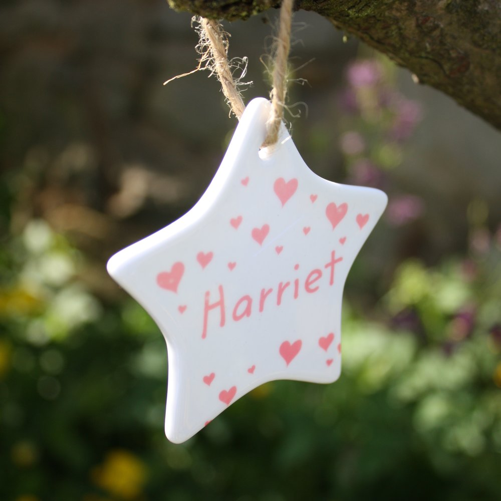 Personalised Hearts Star Decoration