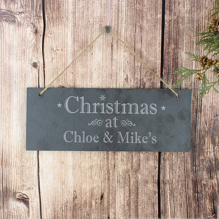 Christmas Personalised Slate Door Sign