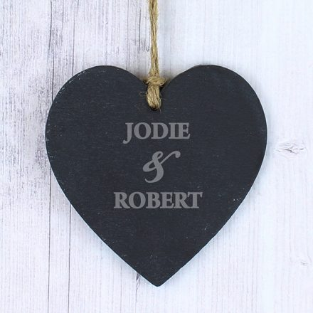 Couples Personalised Slate Heart Decoration