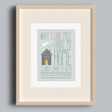 'I Love My Home' Personalised Print