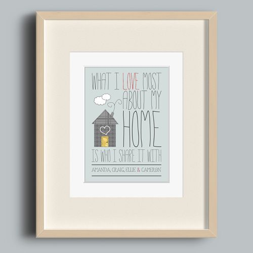 'I Love My Home' Personalised Print