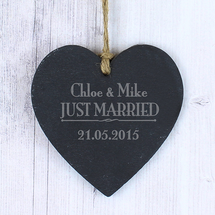 Personalised Just Married Slate Heart Sign
