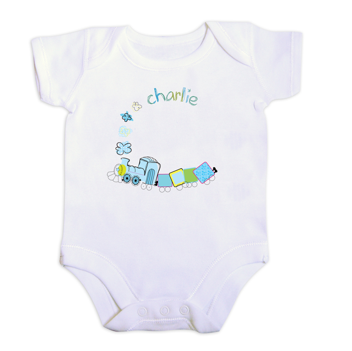 Personalised Patchwork Train Baby Boy Vest