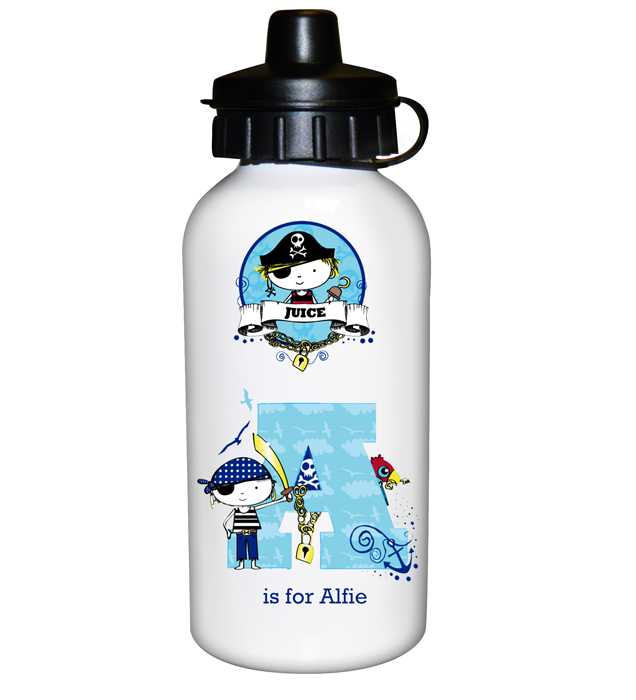 Pirate Letter Personalised Water Bottles