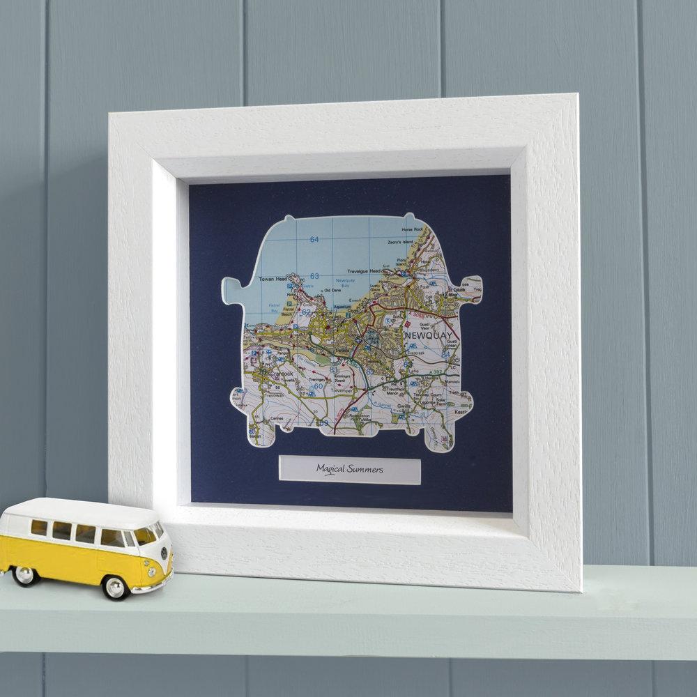 Personalised Framed Camper Van Map Memory