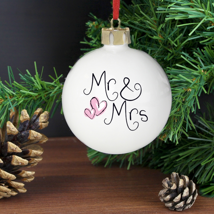 Personalised Mr and Mrs bauble