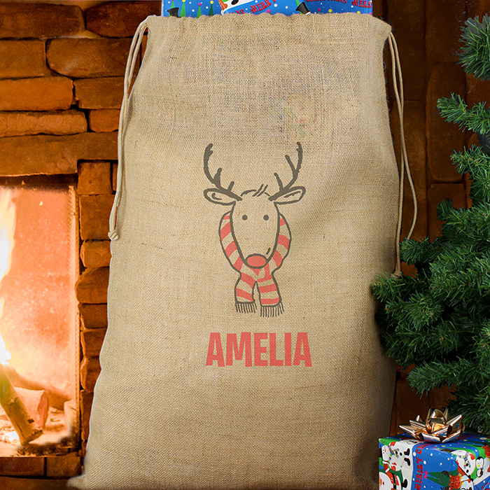 Personalised Reindeer Hessian Sack