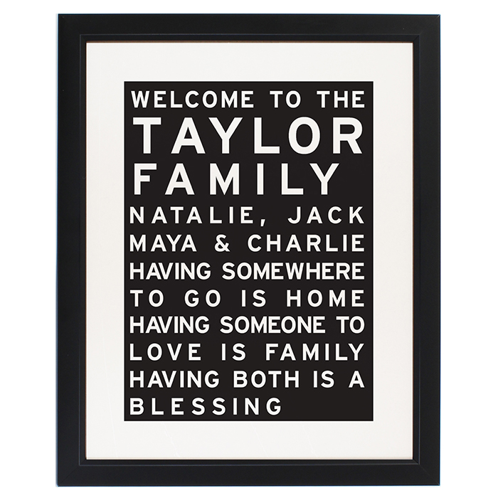 Personalised Typography Family Framed Print