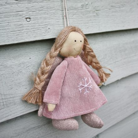 Pink fabric Christmas hanging angel