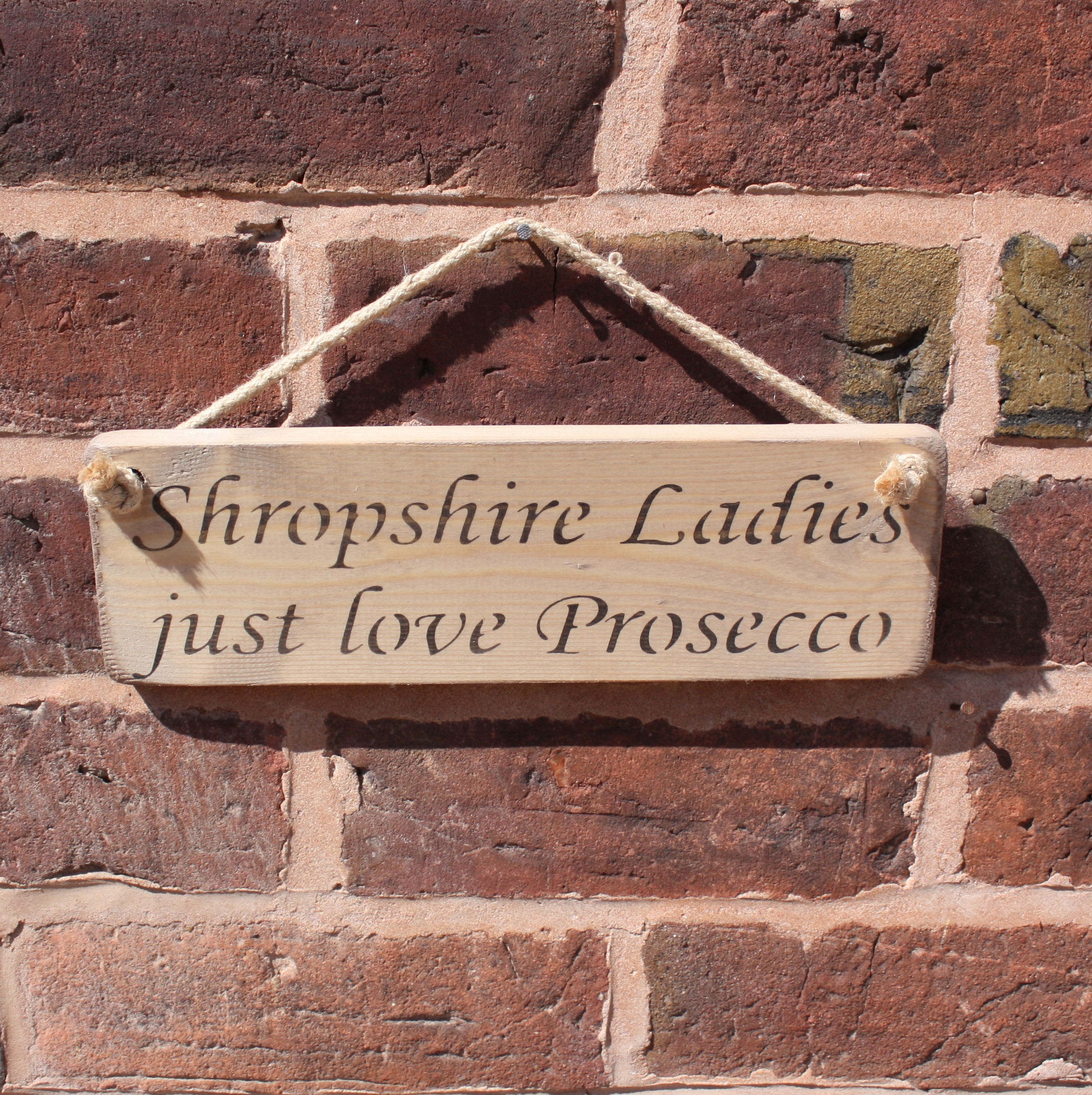 Shropshire Ladies Just Love Prosecco sign