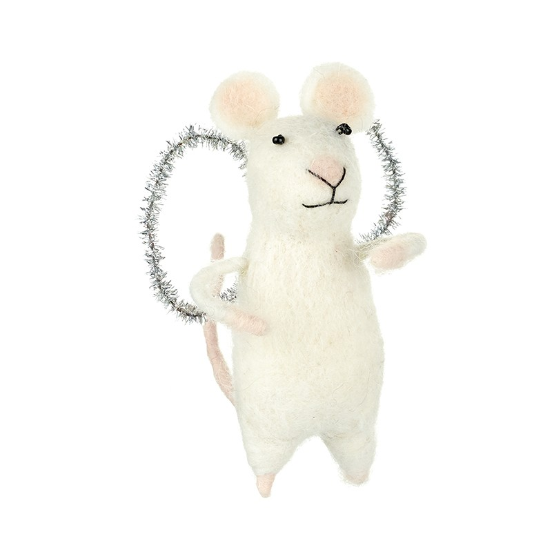 white felt mouse with glitter wings