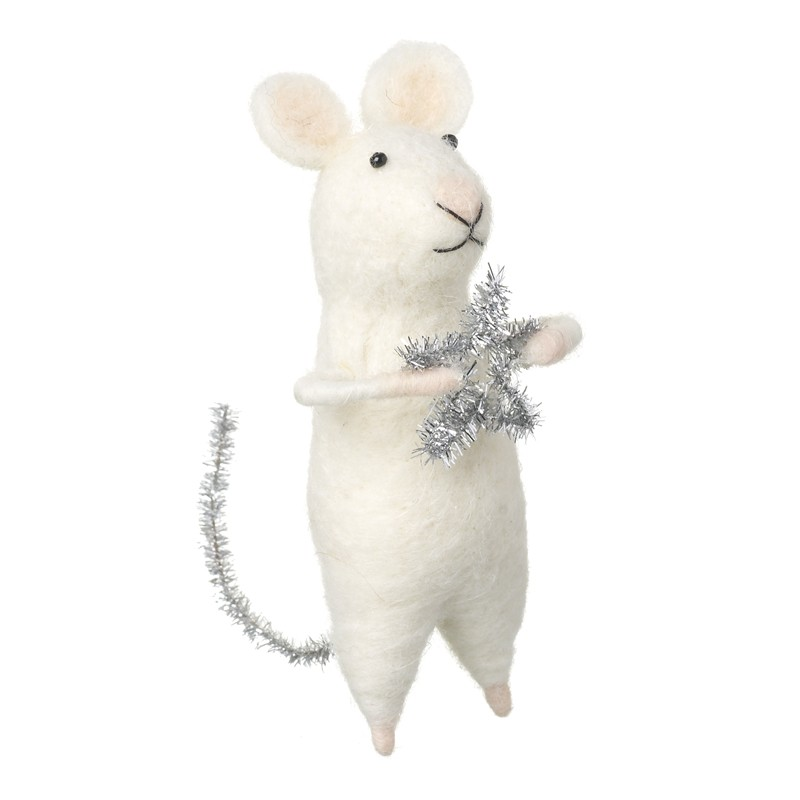 White Tinsel Star Mouse Christmas Decoration
