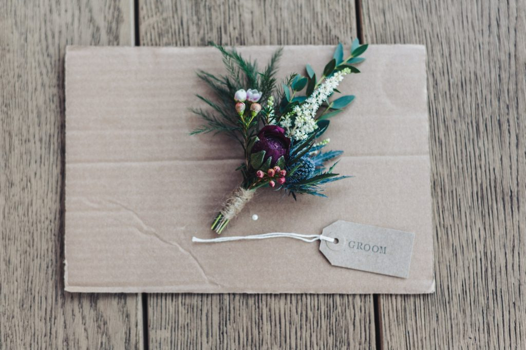Groom Buttonhole at Wedding at The Mill Barns