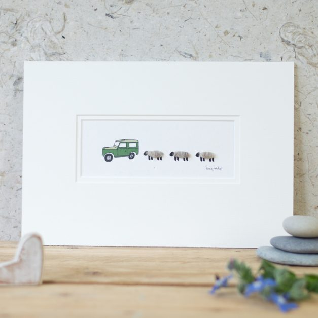 Penny Lindop print Land Rover with 3 Woolly Sheep
